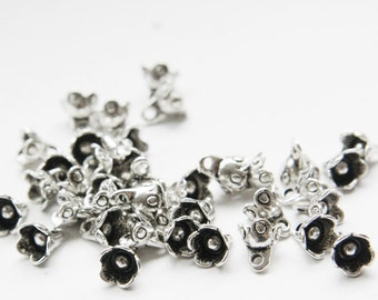 60pcs Oxidized Silver Tone Base Metal Charms-Flower 8x7mm (9597Y-P-97A)