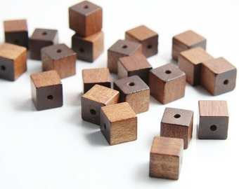 20pcs Wood Beads - Square - Cube - Dark Brown 10mm