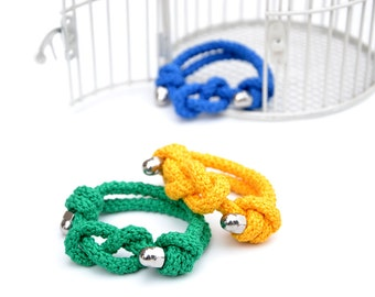 Figure 8 knot - Knots bracelet, stainless steel nuts and bright green cotton - ready to ship