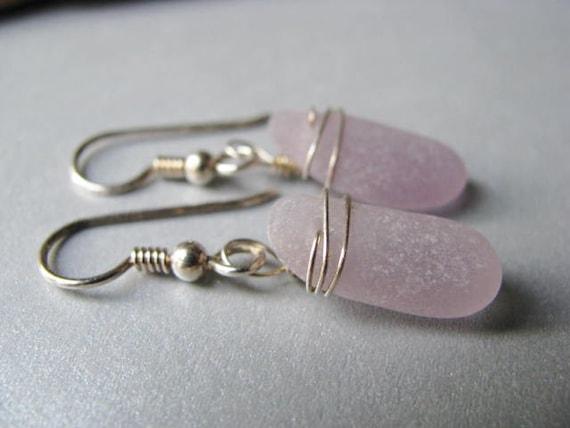 Amethyst Seaglass - Sea Glass Earrings - Wire Wrapped - Dangle Earrings