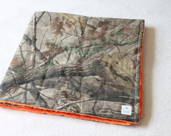 "Hunting Camo Minky Back Blanket - Realtree Fabric, Custom Minky Colors -- 34x34"" --  Monogramming Available, See 2nd Photo"