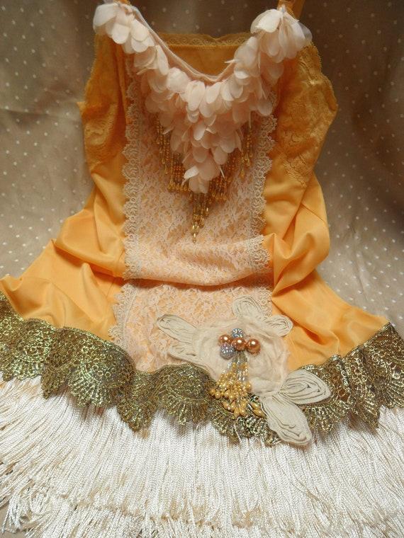 ROARING 20s Flapper Girl 1920s Fringe Jazz Age Speakeasy Great Gatsby   - Vintage Slip Make Over -Goldenrod and Cream