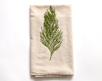 Flour Sack Dish Towel - Cedar Design,  Screen Printed in Olive Green - 100% cotton tea towel