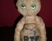 Primitive Raggedy Mummy w/Tombstone Shelf Sitter doll HALLOWEEN / FALL Home Decor