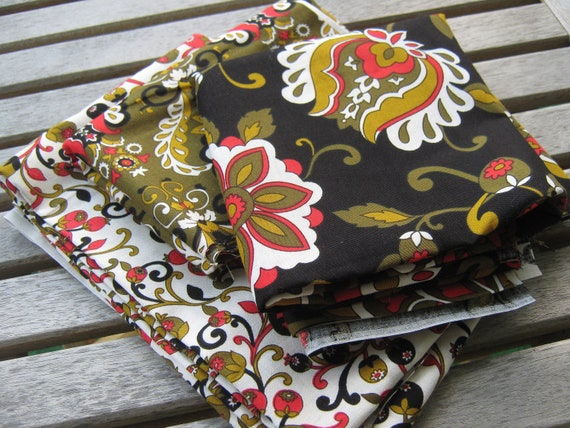 End of Bolt Bundle Elegant Floral Berries and Paisley Quilting Fabric Over 1.5 Yards