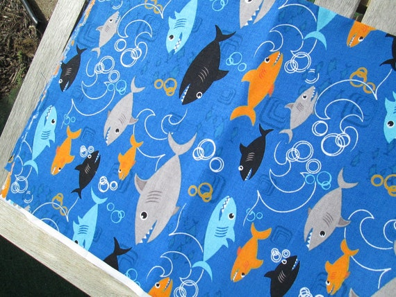 "SALE Remnant End of Bolt 28"" Shark Fabric on Blue"