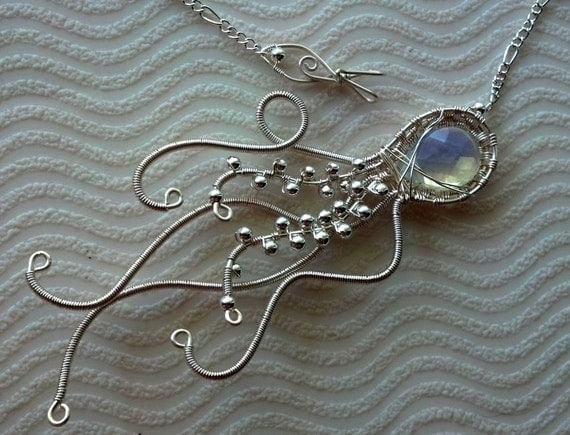 Opal Jellyfish silver parawire opalite necklace