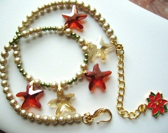 A Tropical Party ...Swarovsky faceted crystal starfish necklace .. #322