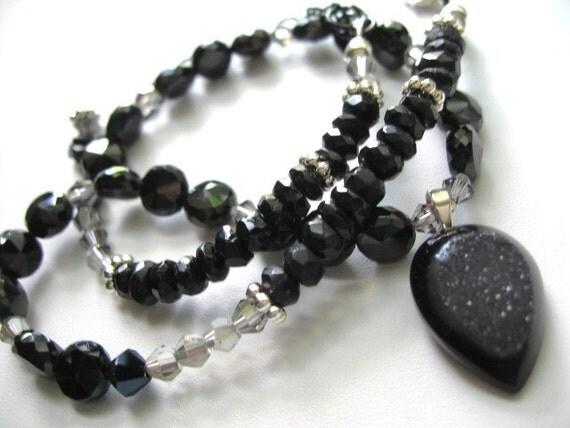 Ms Tuxedo ... natural druzy, black spinel, black tourmaline .. #283