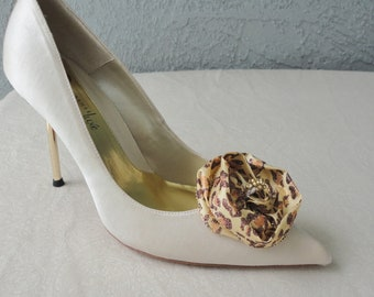 Wedding Bridal Leopard Print And Glitter Rose Shoe Clips