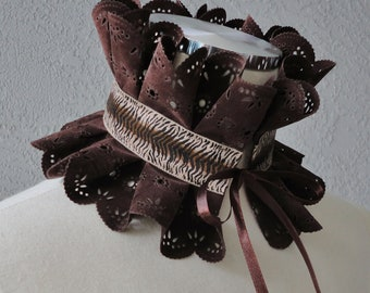 Victorian Inspired Dark Brown Faux Suede And  Ribbon Ruffle Collar Necklace Cowl Statement Piece