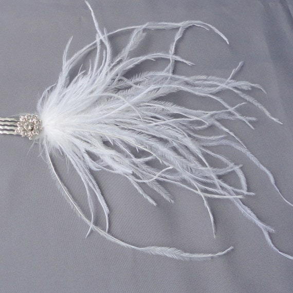 Wedding Bridal White Ostrich And Rhinestone Hair Comb More Colors Available