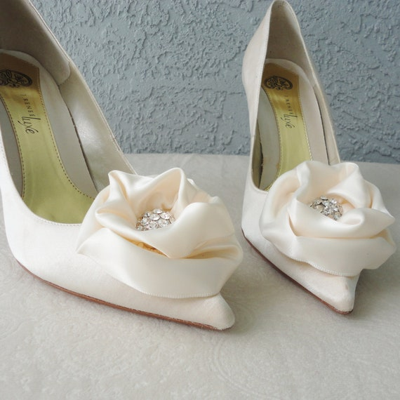 Wedding Bridal Ivory Satin Rose And Rhinestone Shoe Clips More Colors Available