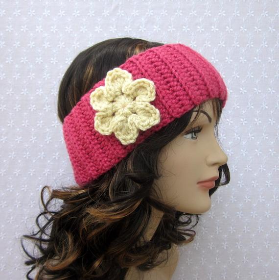 Pink Crochet Headband - Womens Ear Warmer with Cream Flower - Ladies Head Wrap