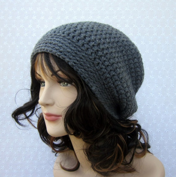 Charcoal Gray Slouchy Crochet Hat - Womens Slouch Beanie - Oversized Cap - Fall Fashion Accessories