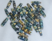 36 hand rolled paper beads - blue, black, yellow