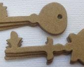 9 TiNY KEYS & HEART LOCK  -- Vintage Skeleton Key Raw CHiPBOARD  Bare Die Cuts - Miniature