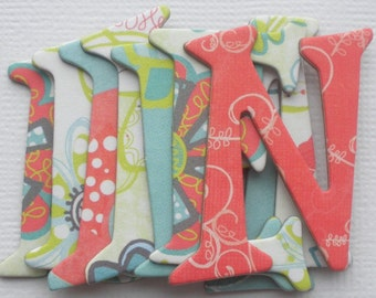 ALORA DOODLES - Bo Bunny Chipboard Alphabets with Heart Die Cuts -  1.5 inch Letters