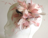 dusty rose and ivory feather flower - bridal feather hair comb - pink feather fascinator