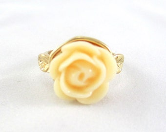Soft Yellow Rose Flower Ring - SALE