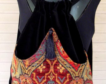 Backpack Tapestry Renaissance Backpack  Black Velvet Book Bag  Tapestry Backpacks  Piperscrossing