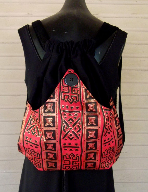 Tribal Backpack Red And Black  Backpack Black and Red  Boho Backpack  Book Bag Piperscrossing