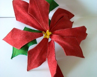 Vintage Poinsettia in Red and Green Felt