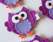 Purple and Lavender Felt Owl Hair Clip - Cute Everyday Purple Owl Felt Clippies - Birthday party favors