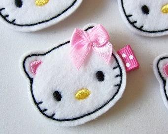 White Felt Kitty Pink Bow Hair Clip - Super cute kitty cat felt clippies - everyday felt hair bow - felt hair clips - felt clippies