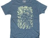 Men's Tshirt, Brooklyn Subway Track, Organic Blue