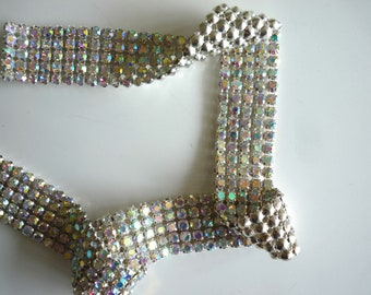 DIVA Rhinestone Banding Trim  /  AB Iridescent Crystal  / 2 rows, 1 yard / BRIGDET