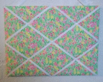 New memo board made with Lilly Pulitzer Painters Palette fabric