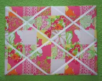 New memo board made with Lilly Pulitzer Mini Fly By Patch fabric