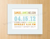 Mixed Typography Birth Announcement Print - Horizontal