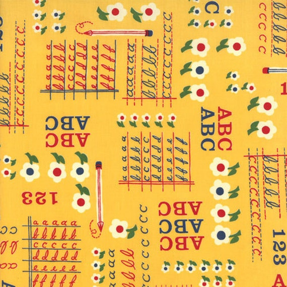"""CLEARANCE FABRIC Vintage Style MODA School Days Writing on the Wall Fabric 31"""" piece"""