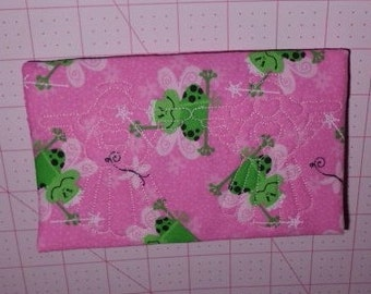 Pink Princes Fairy Frog with Angel Design Quilting Fabric Checkbook Cover