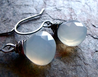Natural Chalcedony Sterling Silver Briolette Earrings