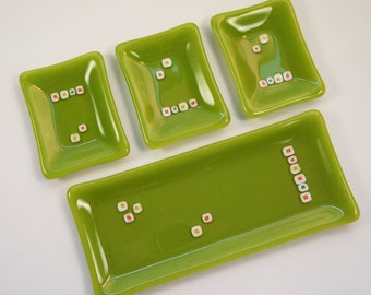 Modern Fused Glass Plate Set, Sushi Set, Green with Orange Accents