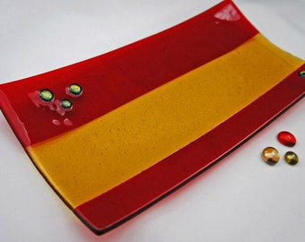 Home Decor, Decorative Plate,  Fused Glass Plate - Stunning Red Gold Dish