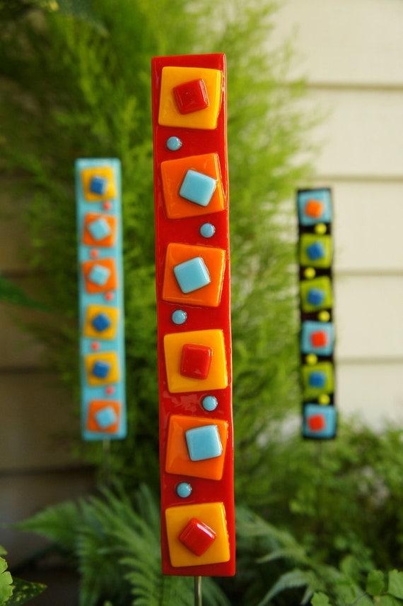 Garden Art  - Outdoor Decor - Red Orange Yellow Blue Fused Glass Stake - Home Decor