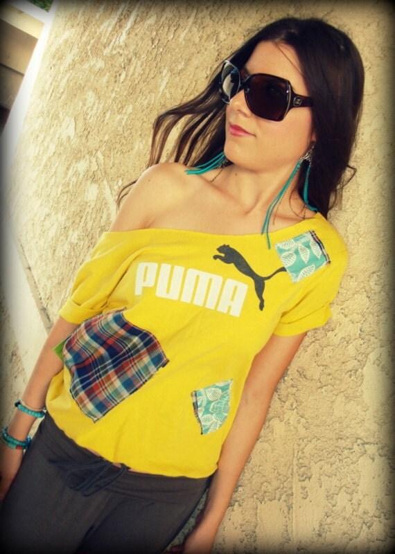 LOVE Hippie Vintage PUMA Off-The-Shoulder Tee T-Shirt