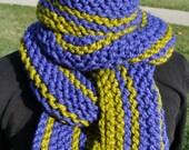 Knit Scarf - Womens Chunky Striped Scarf - Mens Long Knit Scarf - Ladies Winter Neckwarmer - Lemongrass Pear Green - Cobalt Royal Blue