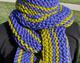 Knit Scarf - Womens Chunky Striped Scarf - Mens Long Knit Scarf - Ladies Winter Neckwarmer - Lemongrass Pear Green - Cobalt Royal Blue