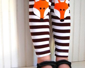 Fox Leggings. Kids Fox. Kids Leggings. Girls leggings. Fox Tights. Toddler Leggings. Knee Patch Leggings. Brown Stripe Leggings.  Fox pants