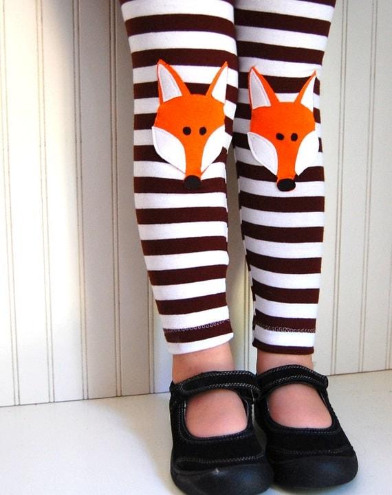 Fox Leggings. Girls leggings. Fox Tights. Leggings for Big Girls. Toddler Leggings. Knee Patch Leggings. Brown Stripe Leggings.  Fox pants