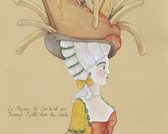 Tomato and Grilled Cheese Sandwich With French Fries, Marie Antoinette style hat, 5x7 archival watercolor print