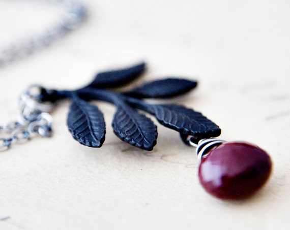 Black Necklace Branch Red Mookaite Jasper Silver Pendant Oxblood Fall Fashion PoleStar