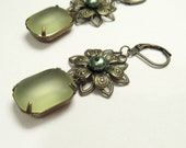 Bronze Flower Earrings - Vintage Jonquil Frosted Glass Stones - Green Freshwater Pearls