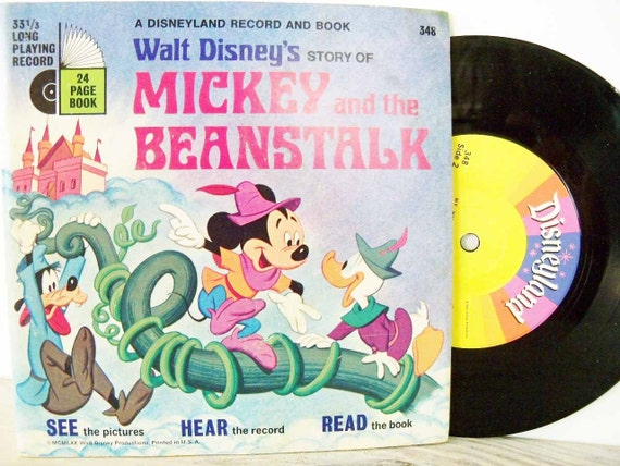 Disney Book Record Mickey and The Beanstalk 1970