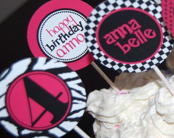 Wild zebra and hot pink custom cupcake topper - printable party design